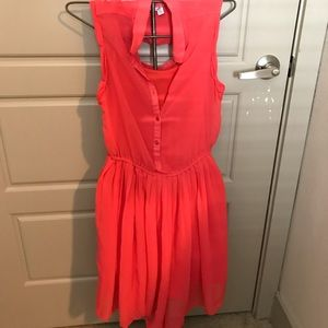 Coral/hot pink button up dress